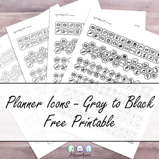 3 Years Apart Neutral Planner Icons from Light Gray to Black Free Printable