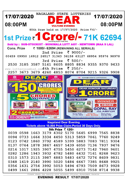 Nagaland State Lottery Sambad 17-07-2020 Today Result 8 PM