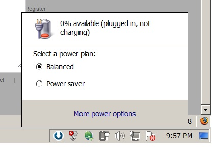 Laptop Battery 0 available plugged in charging