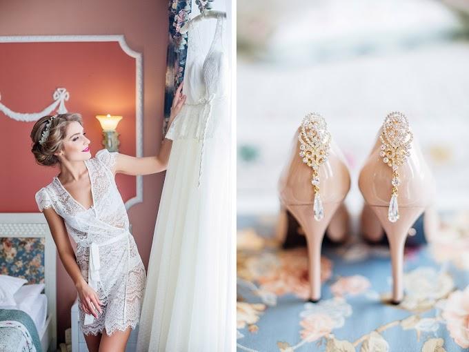 Bridal Jeweled Satin Dress Shoes Sandals | HD Stock Image