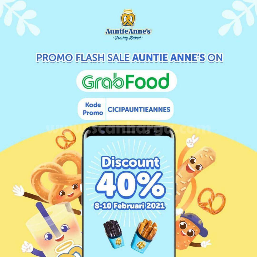 Auntie Anne's Promo Flash Sale GRABFOOD! Diskon hingga 40%