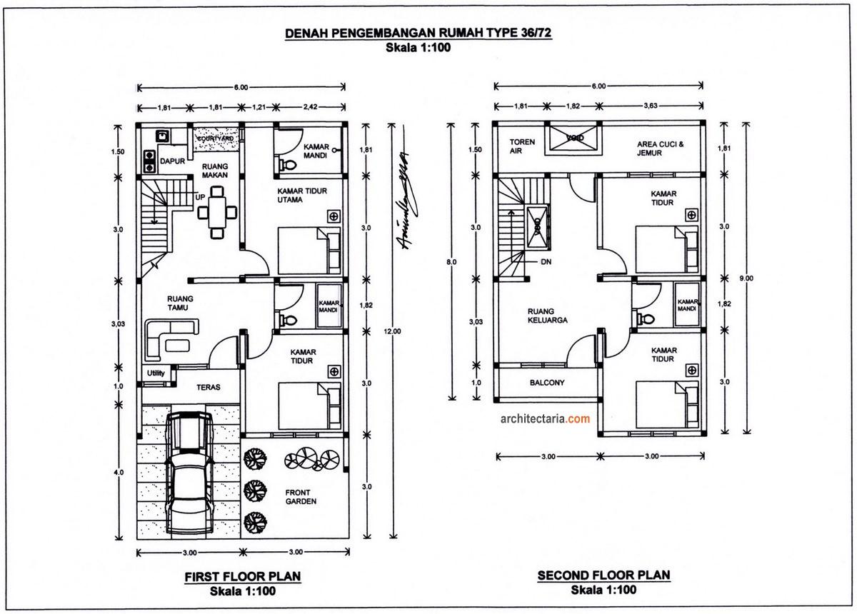 gambar denah rumah minimalis 2 lantai type 36 2
