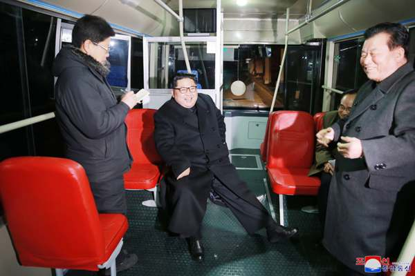 Kim Jong Un at trial run of new-type trolley bus, February 4, 2018