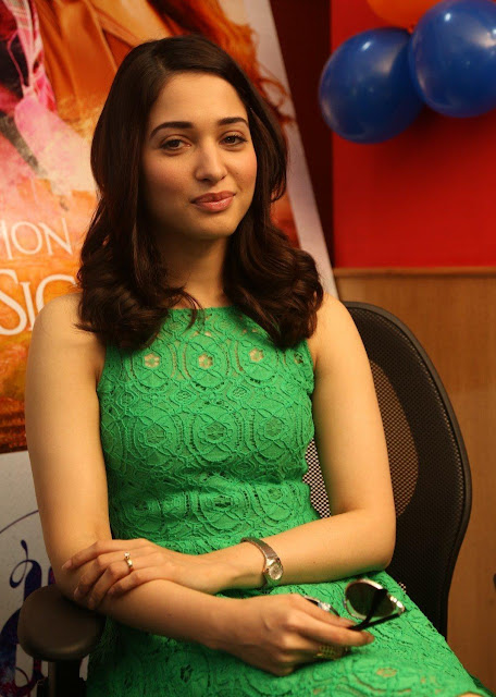 Tamannaah Bhatia Showcasing Her Sexy Legs In a Green Short Dress Navel Queens