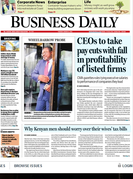 8th march 2016 read headlines across top kenyan newspapers