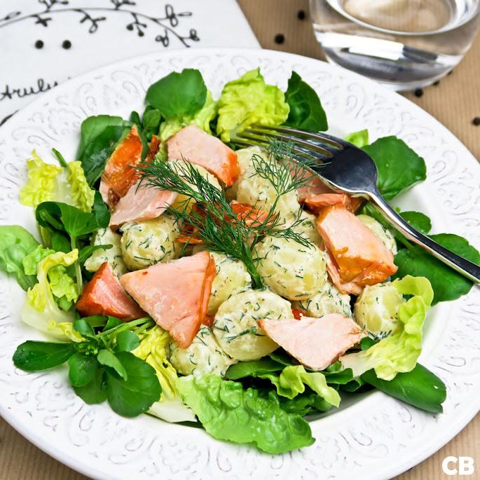 Krieltjessalade met warmgerookte zalm en waterkers
