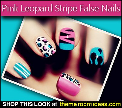 Sweet Candy False Nails Green Pink Leopard Stripe Art for nails decals