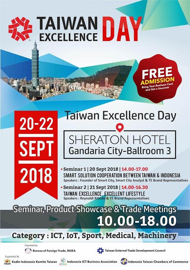 Ikuti Seminar Smart City dan pameran di Taiwan Excellence Day 20-22 Sep 2018