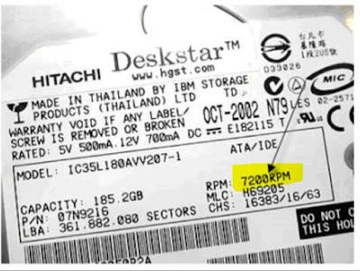 Label RPM Harddisk