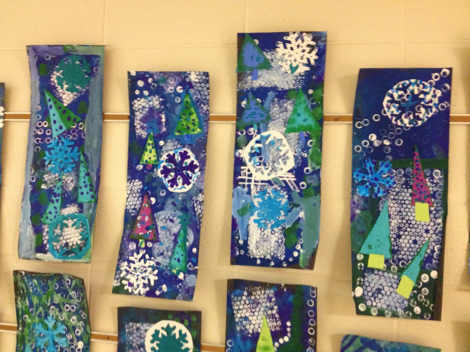 Paint Rollers With Patterns What S Happening In The Art Room 5th Grade Winter Collages