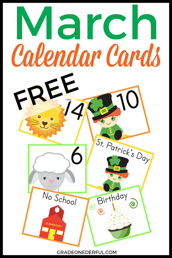 A free set of March calendar cards for your classroom. Includes a lion, lamb and leprechaun.
