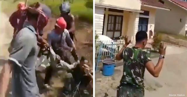 Viral! Anggota TNI Diekeroyok Massa Bersenjata Karena Hendak Padamkan Api, Ini Kronologinya