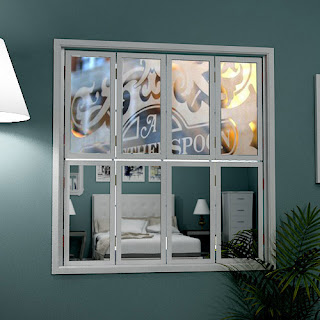 Tier on tier mirror window shutters with company logo or brand