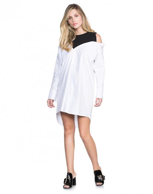 vestido malha e algodao ombro branco
