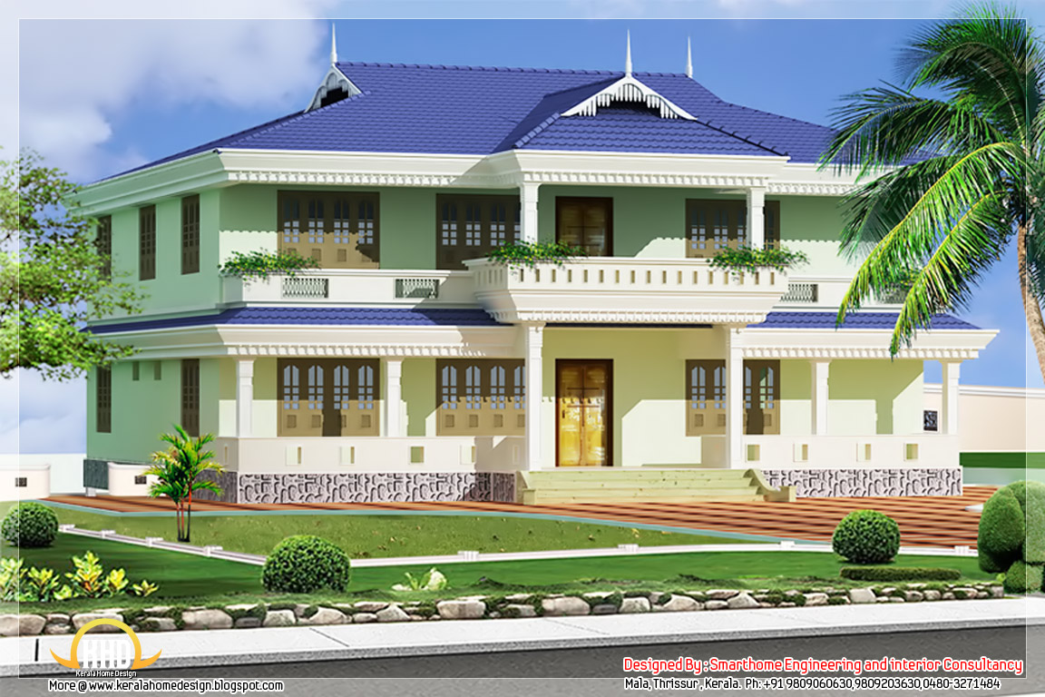 Kerala style house elevation 1976 kerala home for Three bedroom house plans kerala style