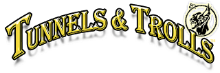 The Tunnels and Trolls logo: the words in a fancy serif font, coloured yellow, curved up in the centre, with a troll's head at the end of the text.