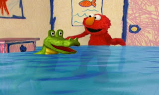 The crocodile's tears fill the room with water, so Elmo now has to swim. Elmo's World Eyes Elmo's Question