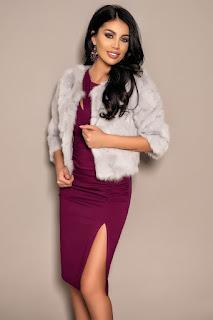Jacheta gri scurta din blana naturala de iepure-2