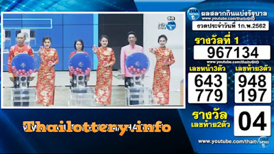 Thailand Lottery Result 01 February 2019 Live Streaming Online