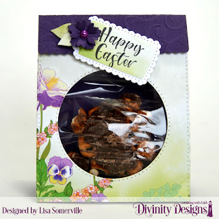 Divinity Designs Stamp Set: Glorious Easter, Custom Dies: Festive Favors, A Gift For You (tags), Embossing Folder: Flourishes, Paper Collection: Spring Flowers 2019