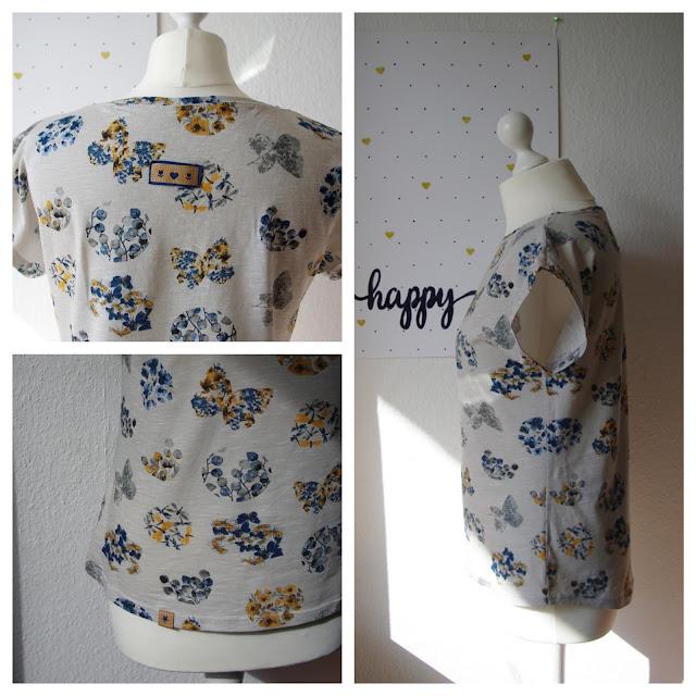 Collage Frau mit Shirt Kimonotee aus Jersey Grau mit Blumen Schnittmuster (Freebook) von MariaDenmark  selbst genähtes Damen Oberteil