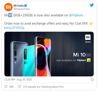 Mi 10 Now Available on Flipkart