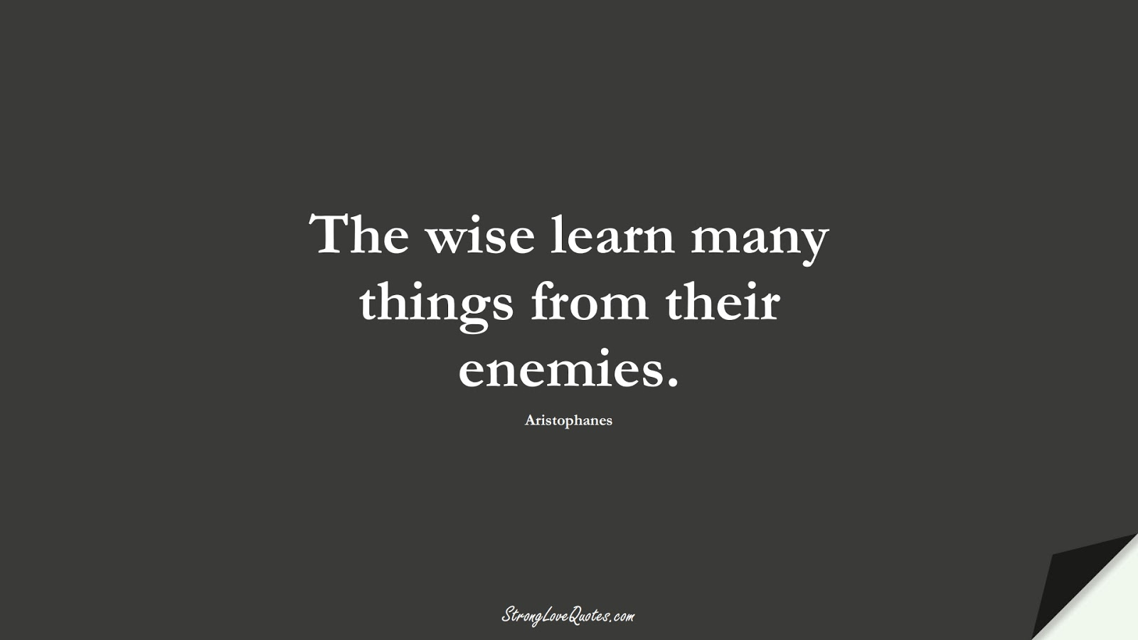 The wise learn many things from their enemies. (Aristophanes);  #EducationQuotes