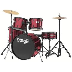 Stagg TIM122B BK Drum Set (Black) with Cymbals, Drum Throne & Sticks