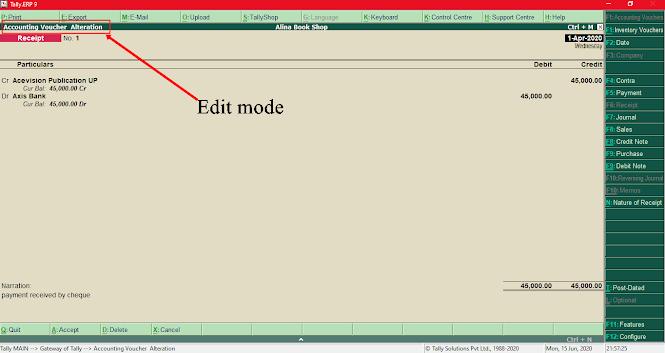 Receipt voucher edit mode