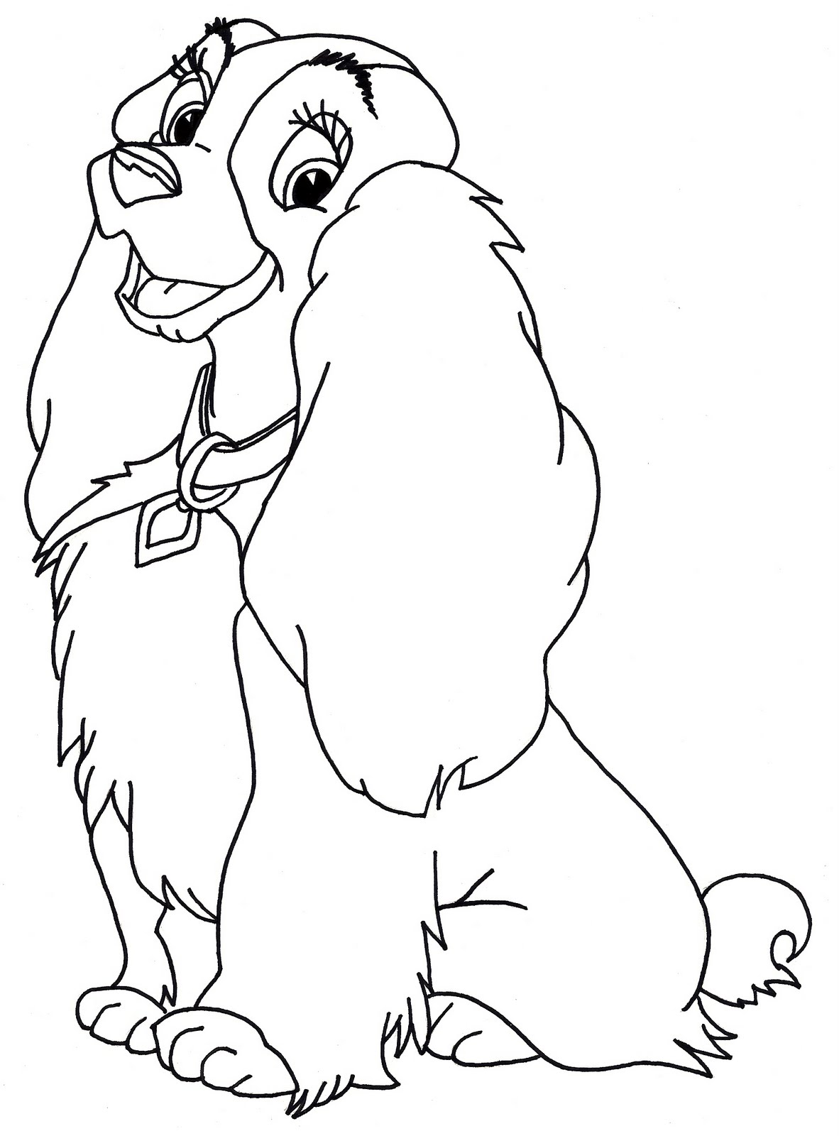 Walt Disney Coloring Pages - The Tramp Lady - Walt Disney-Figuren ... | 1600x1182