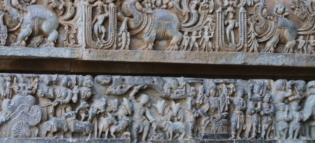 Intricate carving on the external walls of the Hoysaleswara Temple, Halebid