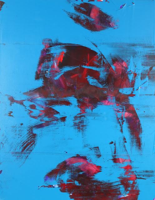 peinture abstraite bleu et rouge artiste peintre jean baptiste besançon