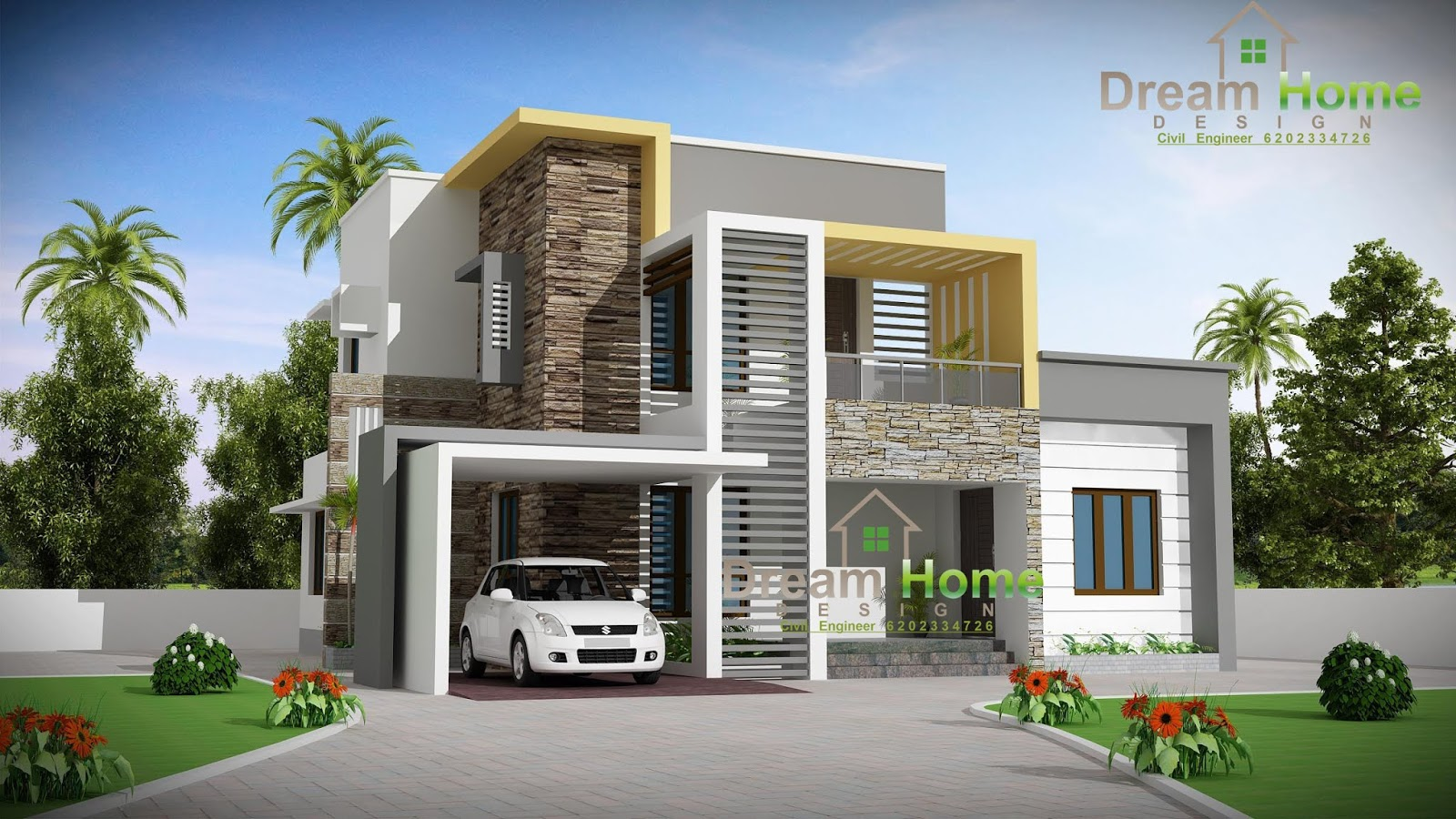 Indian House Design, House Plan, Front Design, 3D Naksha, Map  Dream Home Design