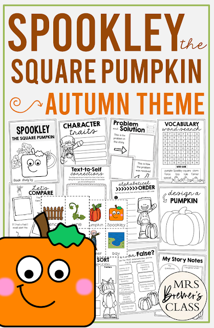 Spookley the Square Pumpkin book study activities unit with Common Core aligned literacy companion activities and craftivity for Halloween in Kindergarten and First Grade