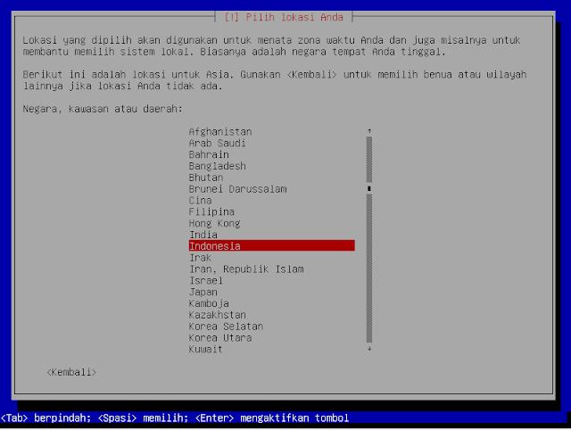Instalasi Debian - Memilih Lokasi