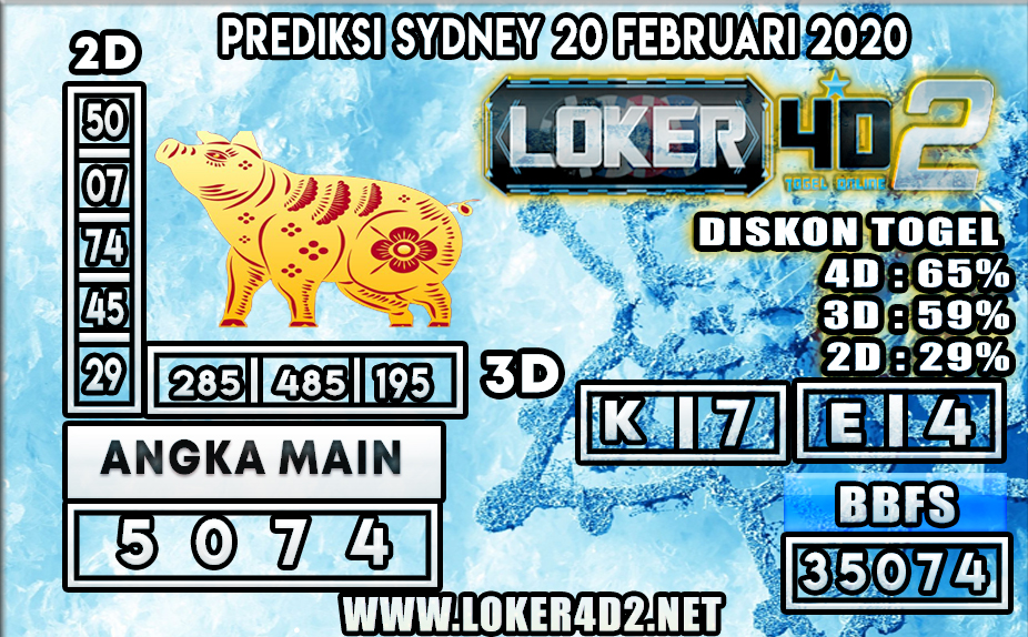 PREDIKSI TOGEL SYDNEY LOKER4D2 20 FEBRUARI 2020