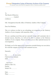 resignation letter of auditor companies act 2013