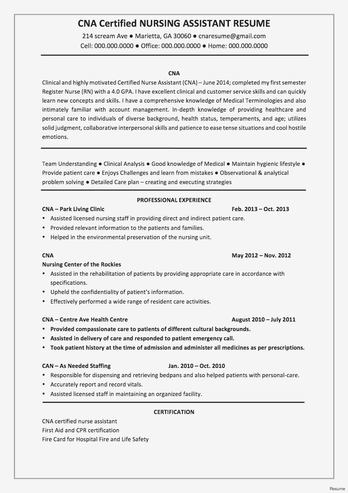 Assistant Nurse Manager Resume 2019 Resume Templates ...