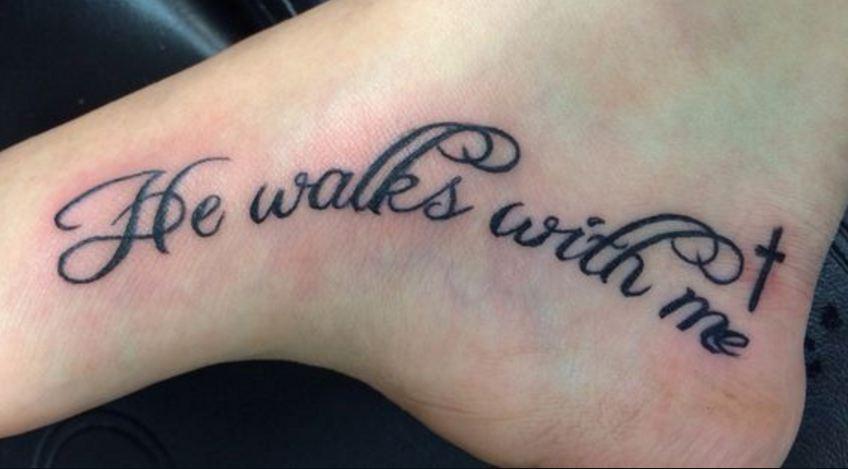 cross tattoos on foot
