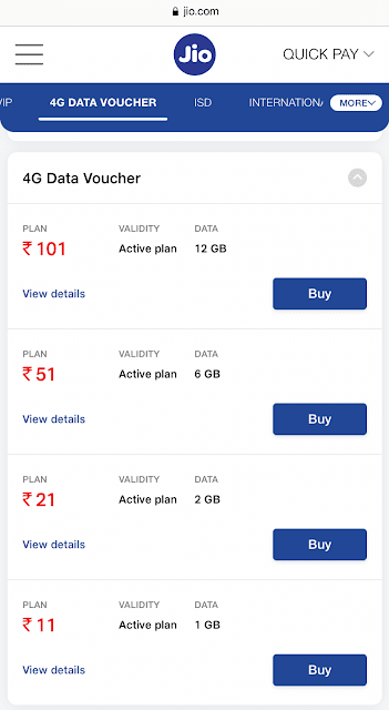 Choose Jio 4G data vouchers