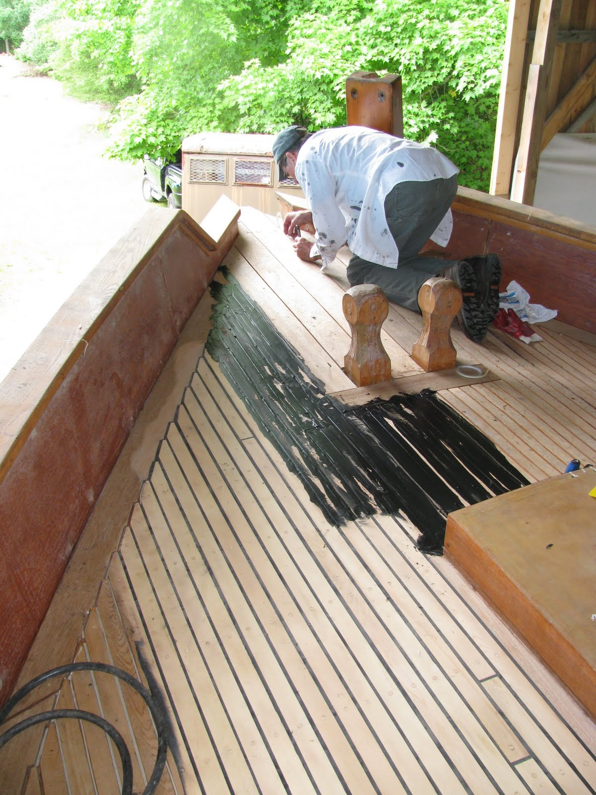 Slocum Spray Sailboat Project Update Deck Caulking