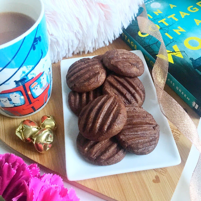 Chocolate fork biscuits, with tea and book