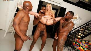 Great-looking busty blonde Amber Deen screwed by three black men