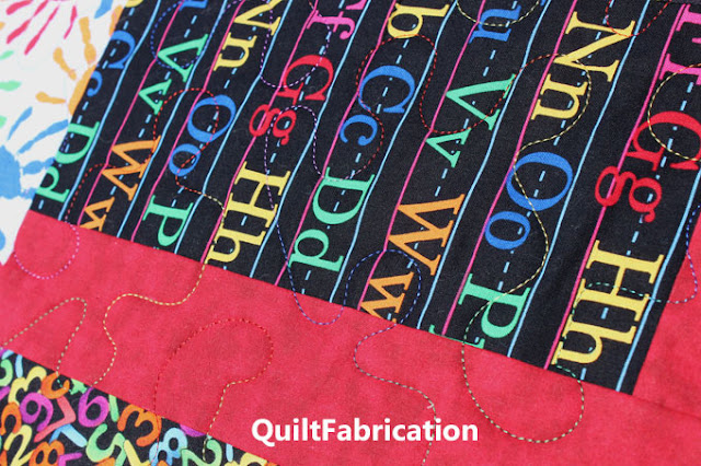 puzzle quilting pantograph in multi colored thread