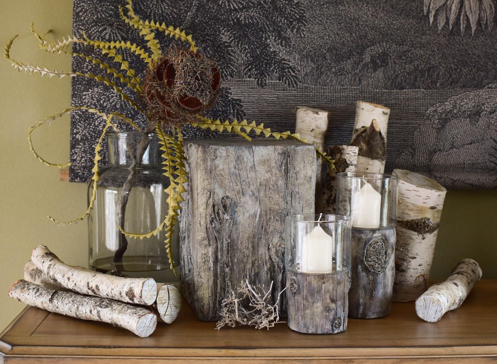 Dekoidee mit Holzdeko aus Zement von Homefinity Serie Bark. Deko Dekoration natürlich Naturdeko für Winter und Herbst Zeitlos. Werbung