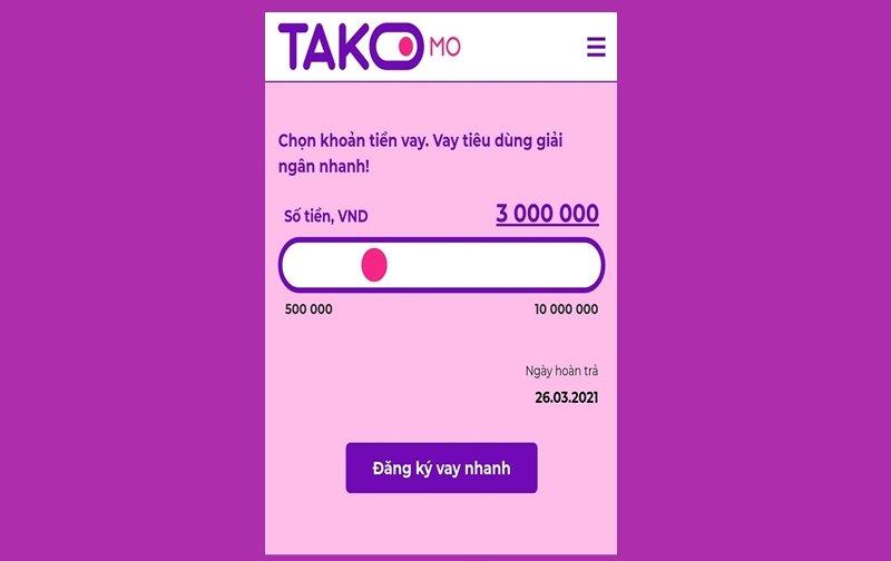 Takomo – Vay 10 triệu online 0% lãi suất bằng CMND
