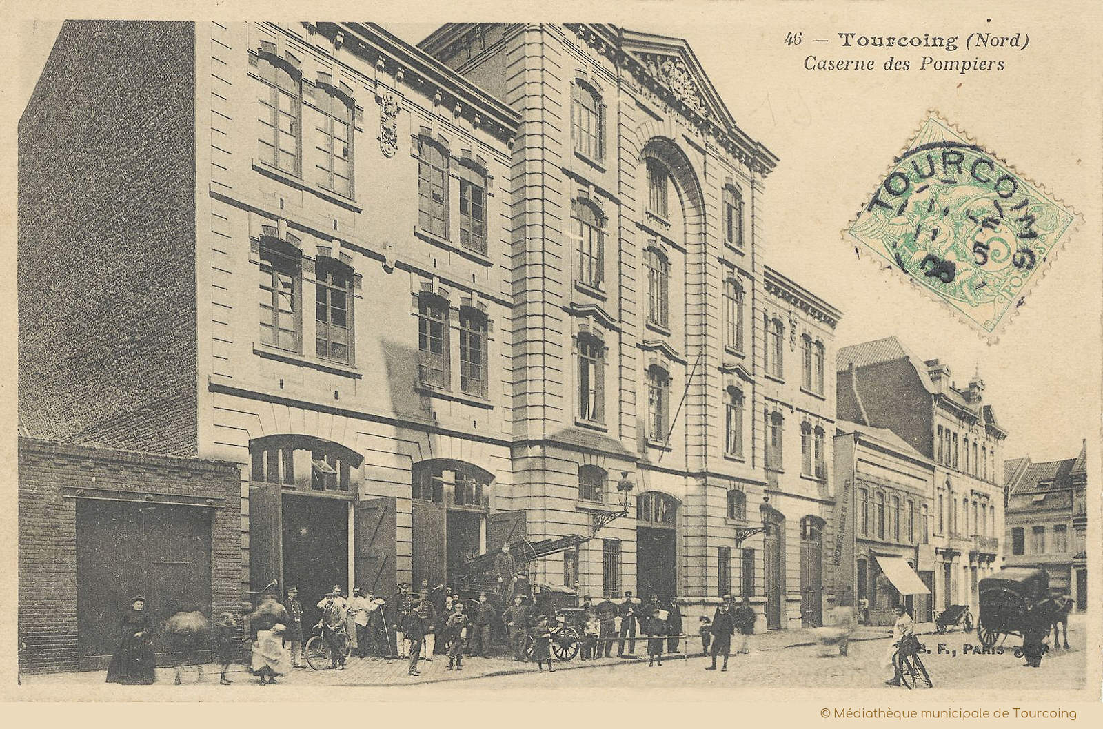 Ancienne Carte Postale - Caserne des Pompiers, Tourcoing.