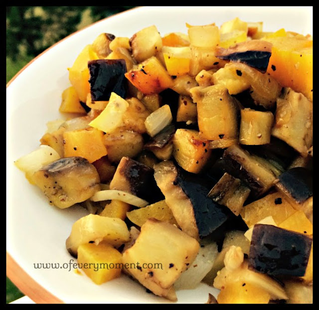 a dish of roasted golden beets and eggplant