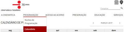 Modo acessar a programação da Cinemateca Brasileira pelo site da instituição