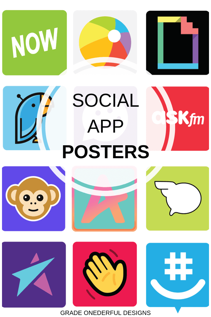 Are you teaching internet safety and need a set of great looking visuals? I have you covered with this set of poster-sized social apps kids are using. There are 30 different images, in both color and black and white. They're perfect for bulletin boards, group work and presentations. You'll receive both a pdf of 60 icons PLUS 60 individual png files.